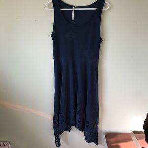 Lauren Conrad Navy Blue Laser Cut Dress